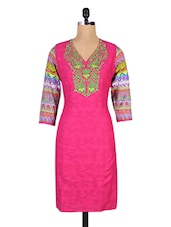 Pink Jacquard Printed Embroidered Cotton Kurti - By