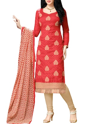red viscose embroidered unstitched suit sets