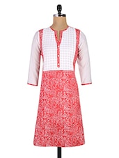 Printed Red Cotton Kurta With Pleated Yoke - By