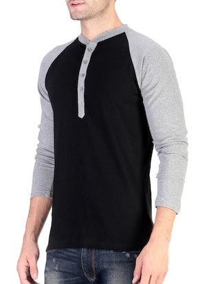 black cotton raglan t-shirt - 11788132 - Standard Image - 2