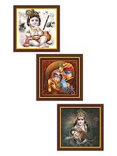Krishna Art Paintings - Set Of 3 - By