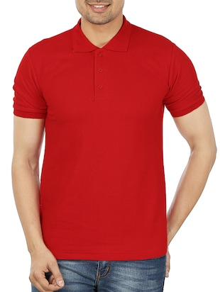 red cotton collared tshirt
