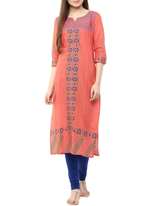 peach block printed cotton straight kurta