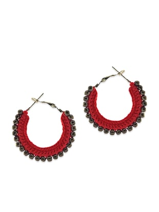 Red thread work hoop earrings