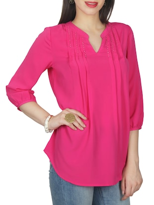 pink solid crepe tunic - 11792151 - Standard Image - 2