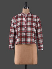 Red Checks Printed Georgette Top - C M Clothing