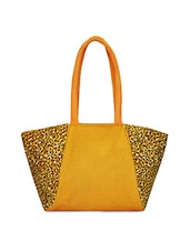 Yellow Animal Printed Jute Handbag - By