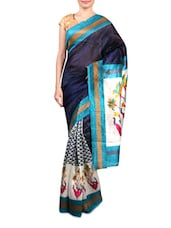 Blue Printed Cotton Silk Saree - By