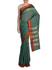 Green Printed Cotton Silk Saree - By