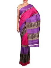 Pink Printed Art Silk Saree - By