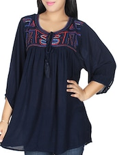 navy blue Embroidered viscose regular tunic -  online shopping for Tunics
