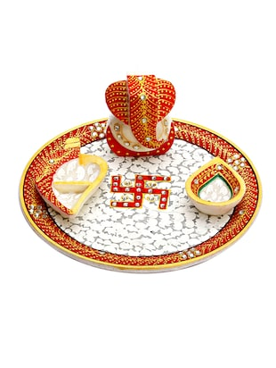 Multicolored marble pooja thali