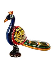 Multicolored Hand Painted Wooden Standing Peacock - By