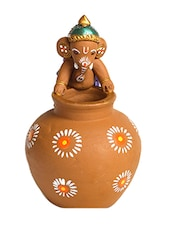 Aapno Rajasthan Multicolor Terracotta Ganesh With Matki Shaped Vase - By