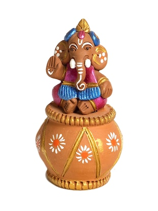 Brown terracotta  little Ganesh sitting on matki