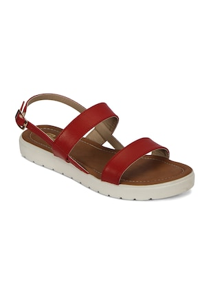 red faux leather sandal