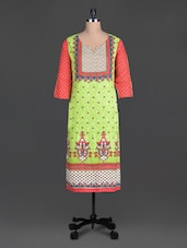 Green Sequin Worked Printed Cotton Round Neck Kurta - SHREE