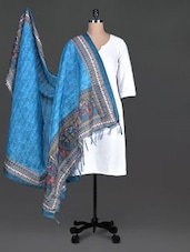 Blue Printed Bhagalpuri Art Silk Dupatta - By
