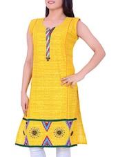 Yellow Printed Cotton Round Neck Kurti - Sequins