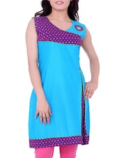 Blue Printed Cotton Round Neck Kurti - By