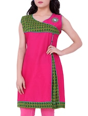 Pink Printed Cotton Round Neck Kurti - Sequins