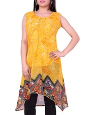 Yellow Printed Georgette Round Neck Kurti - Sequins