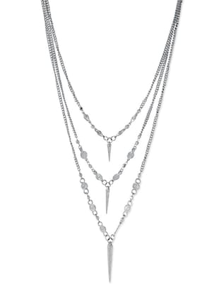 silver metal long necklace