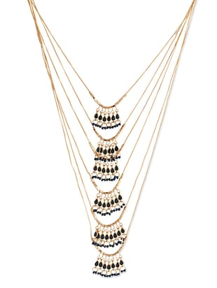 gold metal long necklace