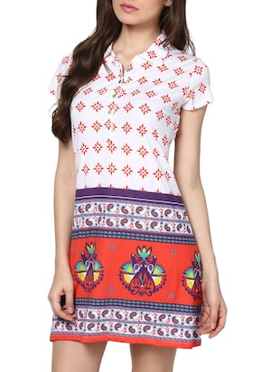multicolor cotton a-line dress