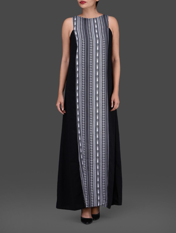 Black With Print Sleeveless Maxi Dress - Femella
