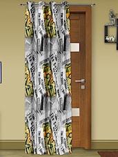 Grey Satin Digital Print Door Curtain - Story @ Home