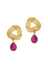 Pink Copper Drop Earring - By
