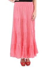 Peach Cotton Polka Dots Long Skirt - By