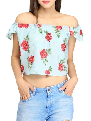 blue polycrepe crop top