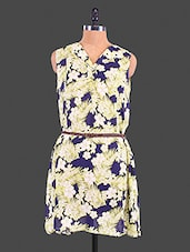 Blue Floral Printed Polyester Dress - By