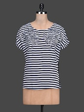 Monochrome Stripe Print Short Sleeve Round Neck Top - By