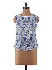 Blue Floral Printed Poly Crepe Sleeveless Top - By
