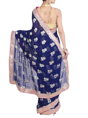 blue georgette gota patti saree with blouse - 11834410 - Standard Image - 2