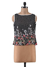Black Floral Printed Poly Georgette Sleeveless Top - By