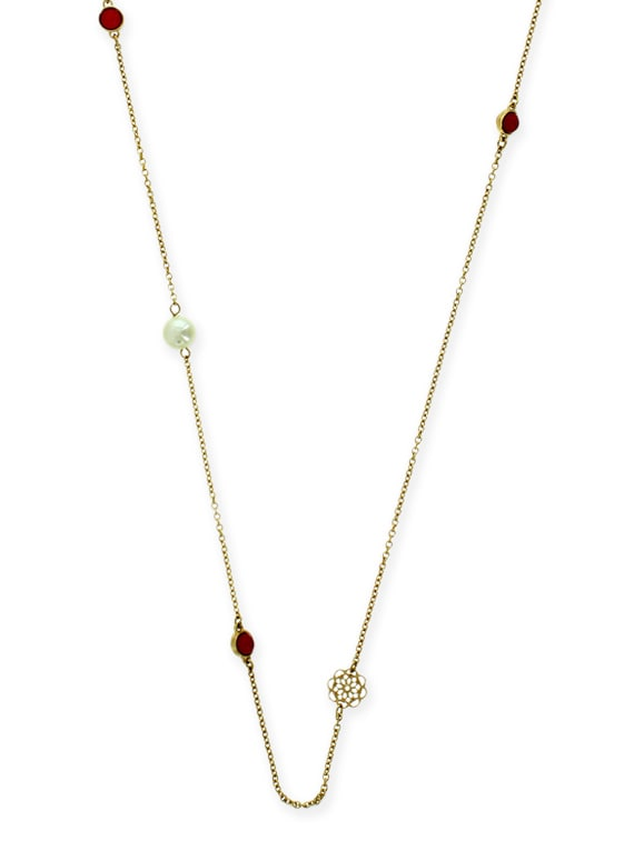 Pink Metal Long Necklace - By