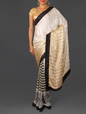 Beige And Black Georgette Jacquard Saree - By