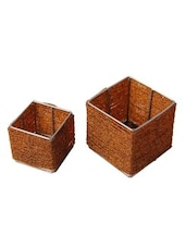 Gold Fabric Rope Cube Tealight Holders (Set Of 2) - Sutra Decor