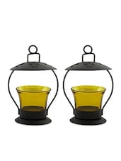 Black And Yellow Metal Casing Tea Light Holder Set - By