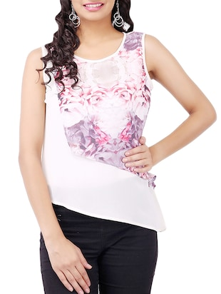 White floral printed georgette top