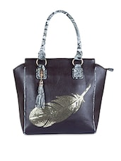 Peacock Feather Sequined Leatherette Handbag - SATCHEL Bags