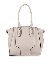 Contrast Piping Leatherette Handbag - SATCHEL Bags