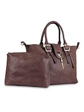 Dangler Embelished Brown Leatherette Handbag - SATCHEL Bags