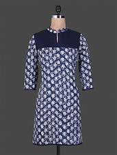 Navy Blue Floral Printed Cotton Kurta - By