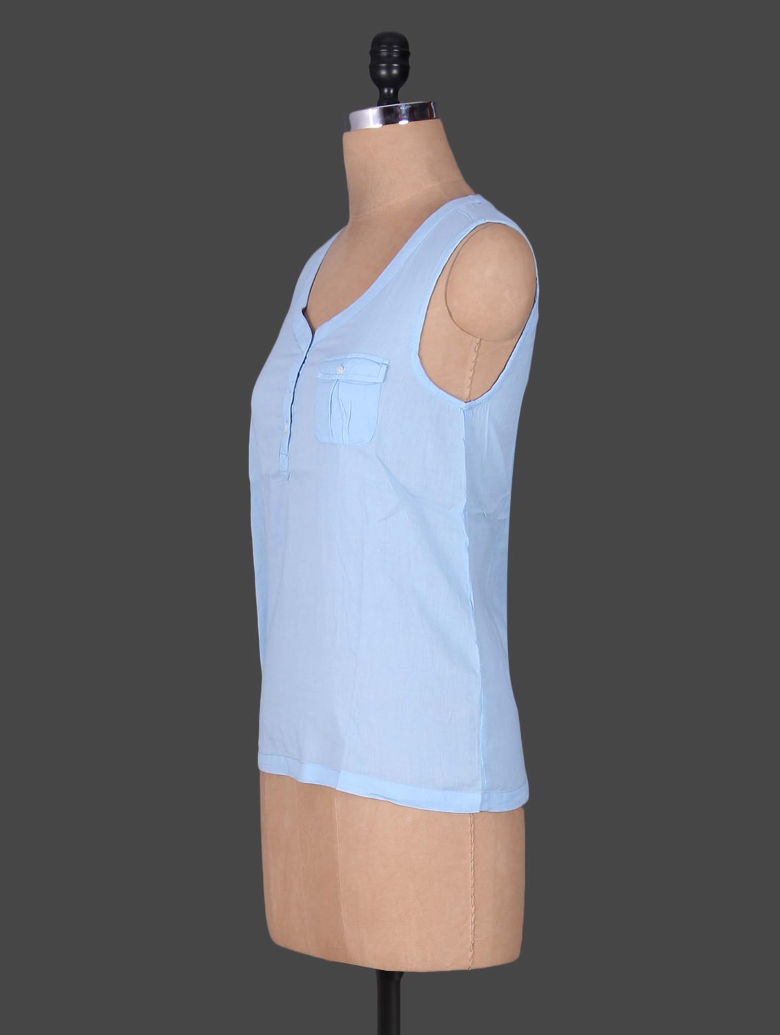 ab3b45d75fd997 Buy Solid Blue Cotton Sleeveless Top by Goodwill - Online shopping ...