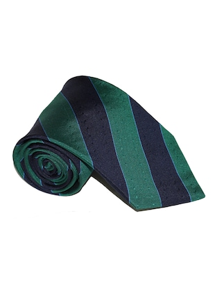 green and navy blue striped microfiber tie -  online shopping for Ties